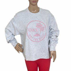 VANS Women's Scripted Sweatshirt Grey Roses Size